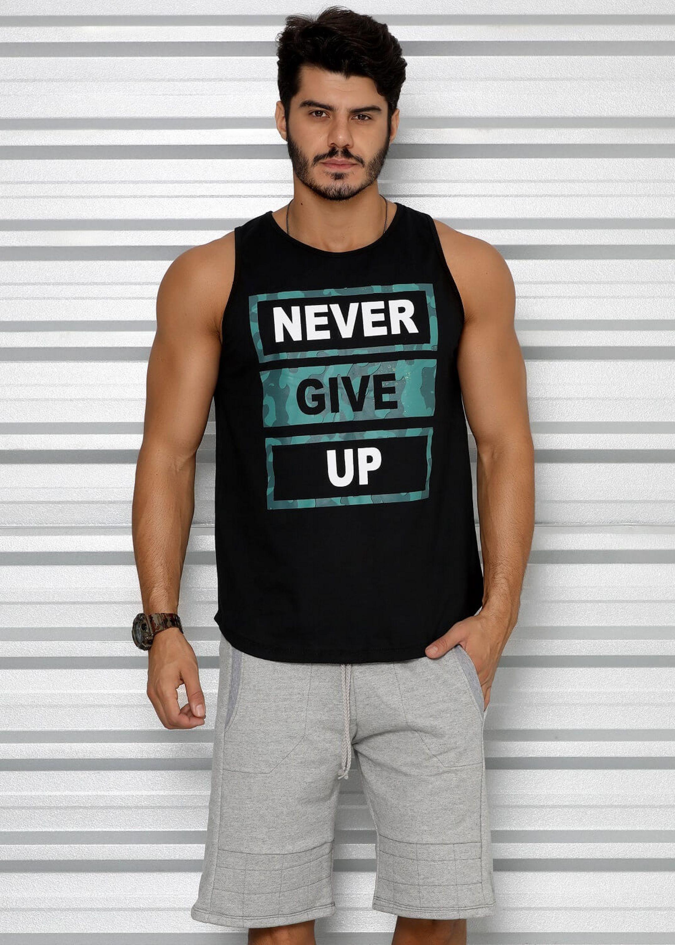 fceb87315 Regata Masculina Tradicional Never Give Up - Donna Carioca - Moda fitness  com preço de fábrica