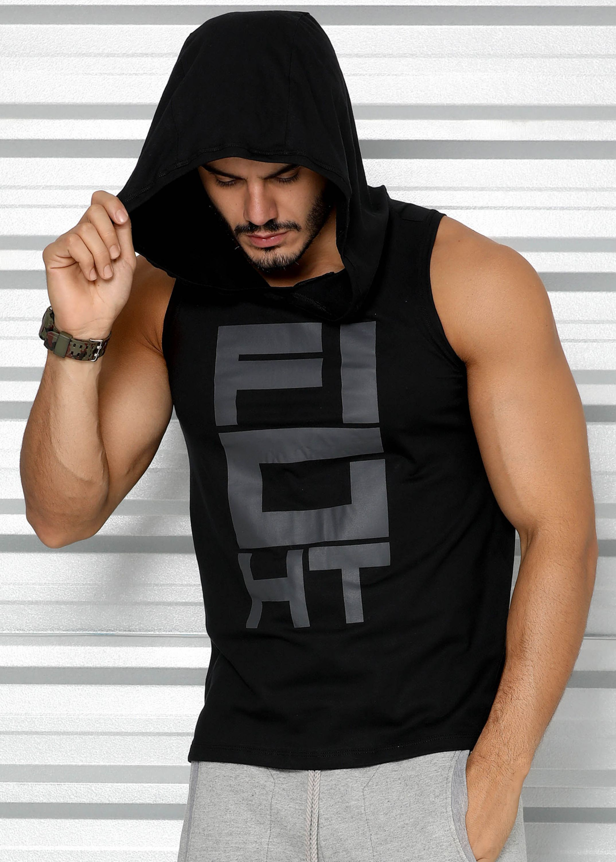 3924dbbaf Regata Masculina Capuz Estampa Fight - Donna Carioca - Moda fitness com  preço de fábrica