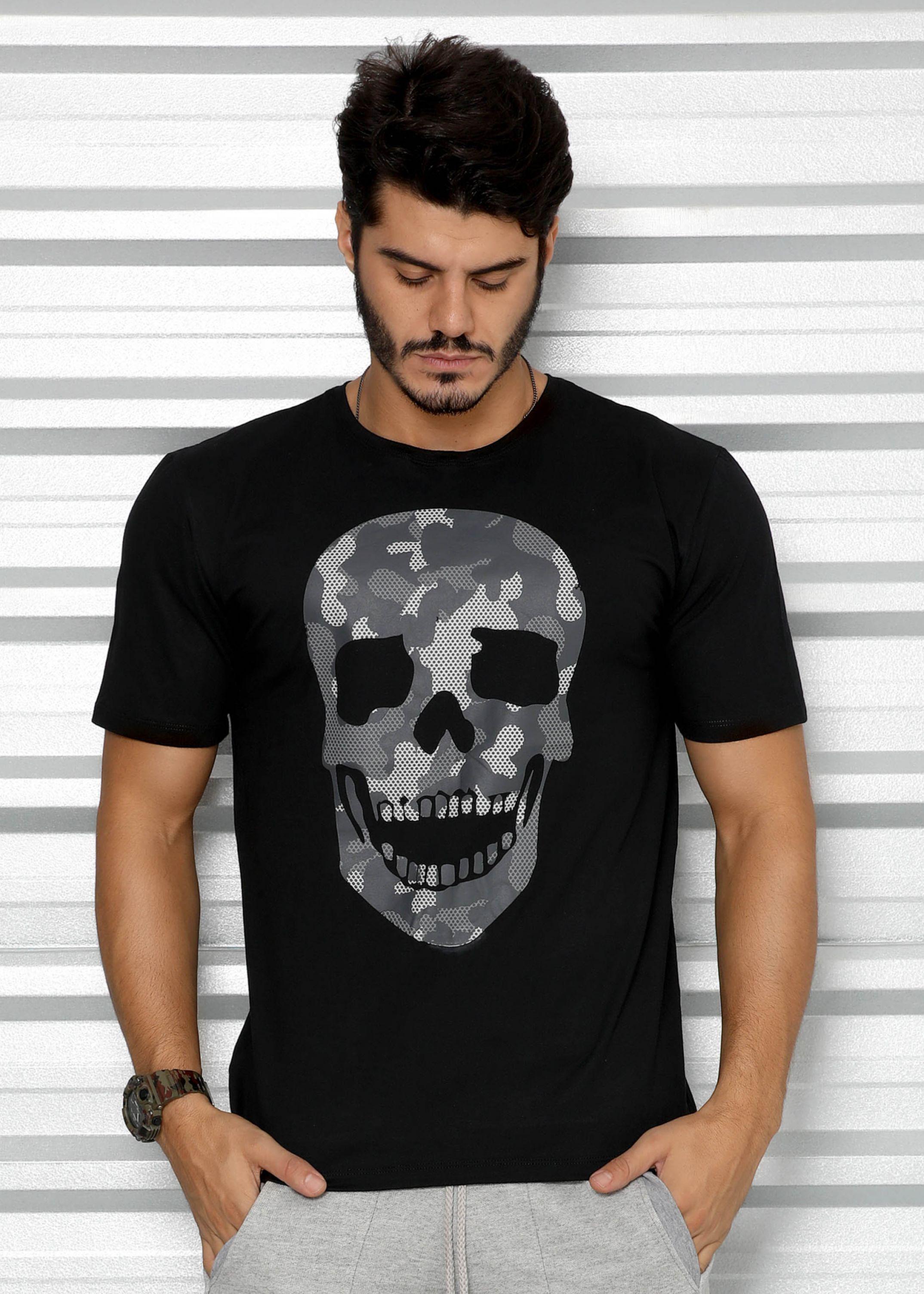 49dd730b75 Camisa Masculina Caveira Camuflada - Donna Carioca - Moda fitness com preço  de fábrica