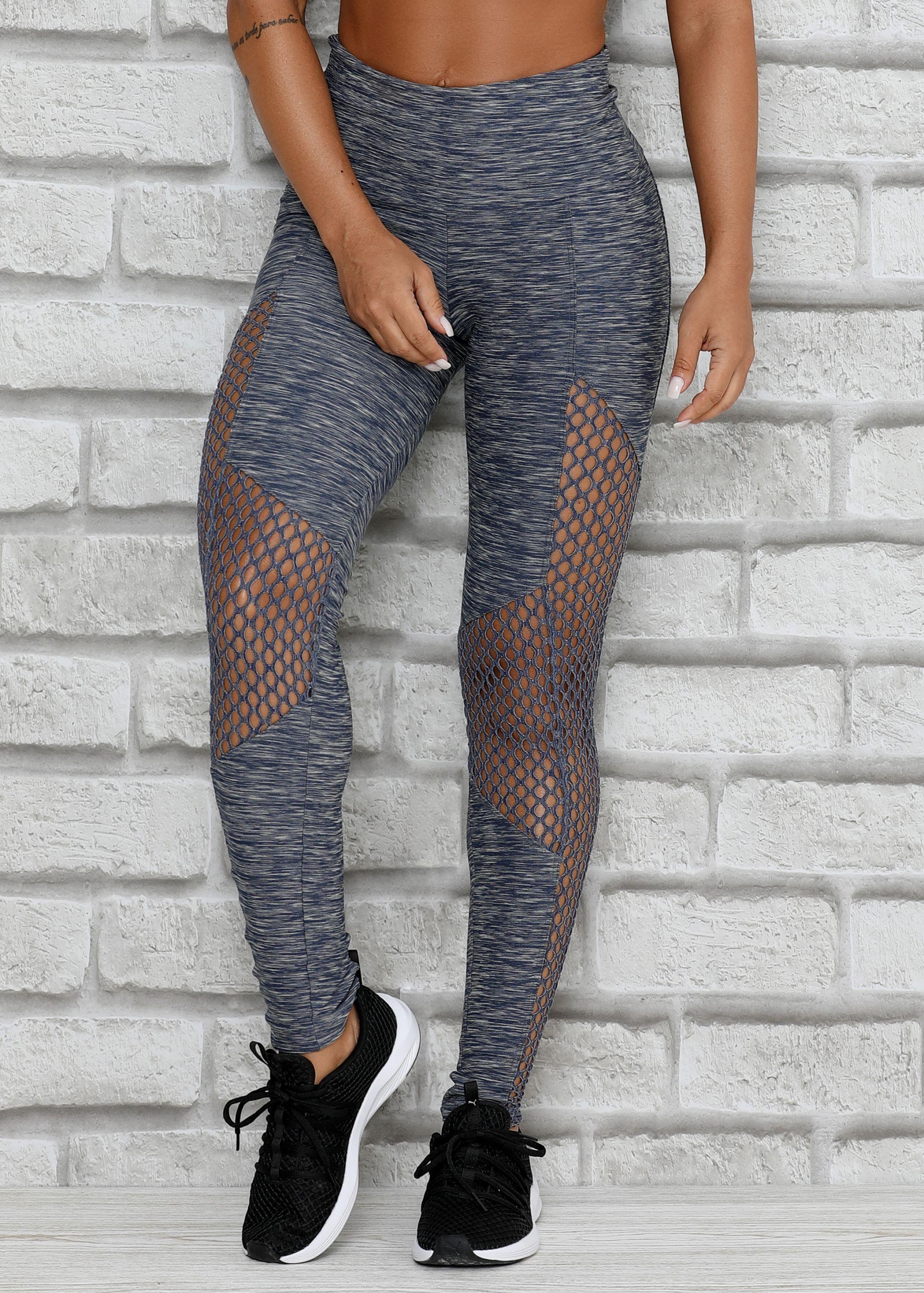 50620641fa Legging Noble em Tecido Mesclado e Tela - Donna Carioca - Moda fitness com  preço de fábrica